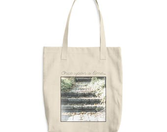 Book tote bag, cotton tote bag, bag for books, everyday tote, purse, shoulder bag, gift for book lover, once upon a time, fairytale