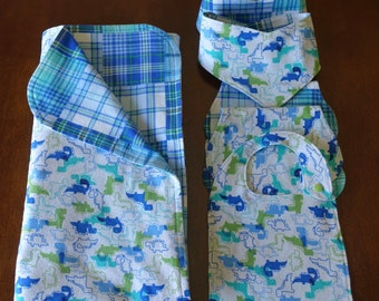 Baby Blanket, Bib and Burp Cloths Gift Set - Dinosaurs and Plaids