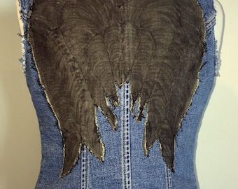 Denim Vest - 4 - Blue with Grey Angel Wings - Inspired by The Walking Dead's Daryl - Reused Recycled Repurposed