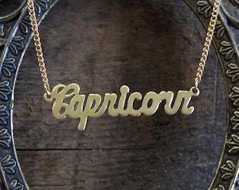 Capricorn Astrological Sign Brass Necklace