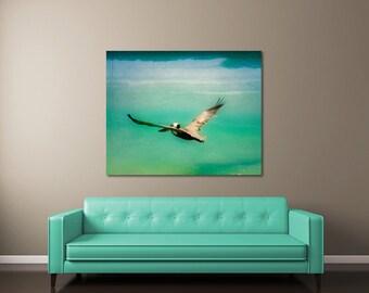 Beach Canvas Art, Florida Art, Pelican Canvas Art, Beach Decor, Beach Photography, Mid Century Wall Art, Florida Photography, Pelican Art