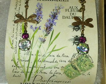 Dragonflies with Rhinestone Fuchsia and multi colored pastel drops on Floral Leverback hooks