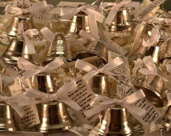 Wedding Bells 24 pc in basket, white ribbon only, Wedding Ceremony, Silver Bells, Kissing Bells, Bells, Church Safe, Environmentally Safe