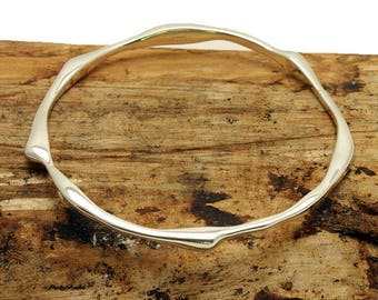 Sterling Silver Sculptured Bangle (B416)