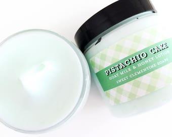 Pistachio Cake Lotion, Cream, Moisturizer, Goat Milk Hand and Body Lotion, Cinnamon, Honey, Coconut, Vanilla, Pistachio