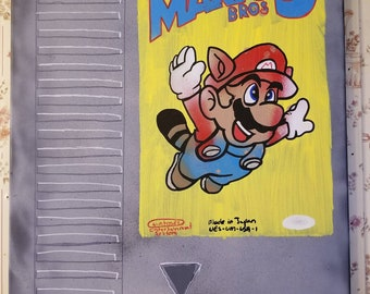 16x20 Super Mario 3 NES cartridge painting by ChrisEcto