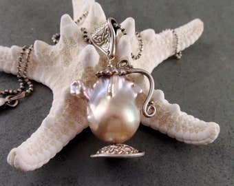 Pearl teapot pendant, handmade eco friendly fine silver celtic baroque pearl necklace, OOAK Irish Teapot #1, June birthstone