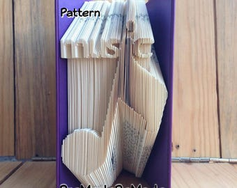 Music + Note - Folded Book Art Pattern - Combination Fold - Instant Download!