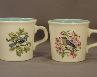 2 Taylor International USA Turquoise-Interior Mugs: Bluebird & Blue Jay - MINT!