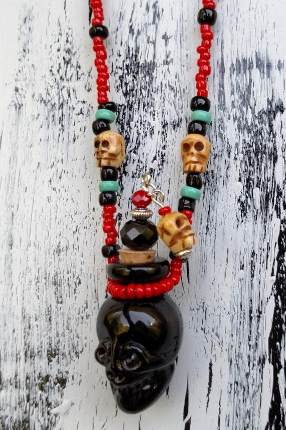 Black Glass Skull Bottle Necklace, Poison Bottle Skull Necklace, Day of the Dead Skull Essential Oil Bottle Necklace