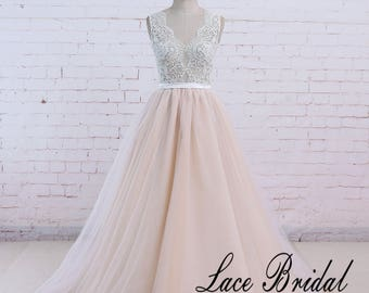 Beach Wedding Dress Etsy - Blush Beach Wedding Dress