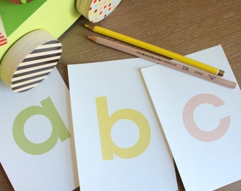 ABC Alphabet Flash Cards for girls - 3x5 Printable PDF, pink green yellow