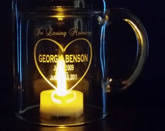 MEMORIAL COFFEE MUG- Personalized  - Engraved, Clear Glass, Wedding, Reunion