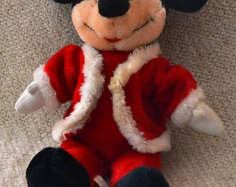MICKEY MOUSE Plush....DISNEYLAND..Mickey Dressed as Santa..Exc. Condition..Gently Used.. Vintage before 1998