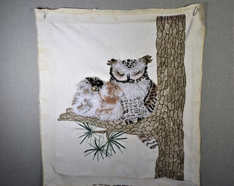 Finished Crewel Owl with Baby on a Tree