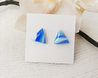 Small Triangle Blue Earrings, Sensitive Ears, Nickel Free, Polymer Clay, Gifts for Her, Any Occasion Earrings