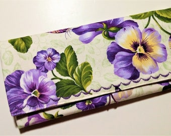 Coupon Organizer Purple Posies  / Storage Case with Dividers / Check Book Case