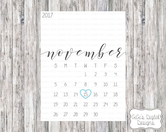 pregnancy announcement calendar calendar with due date pick any color heart custom calendar with due date printable digital prints