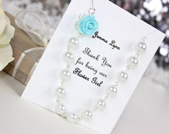 Flowergirl Gift Aqua Blue Flowergirl Rose Pearl Necklace, Flowergirl Necklace, Flowergirl Jewelry, Wedding Gift FREE Personalized Card!!