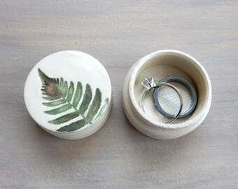 Unique Handmade Ring Box Jewelry Keepsake Birthday Gift Fern Botanical Nature Design Handmade Pill Box Earthy Green Pottery Wooden Box