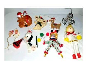 Vintage Christmas Ornaments,Vintage Christmas DESTASH,Set of 10,Ornaments,Kitsch,Collectible,Christmas,Holidays, Kitschy, Vintage Christmas