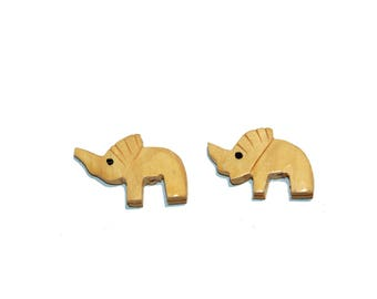 Elephant Beads Wooden Elephant Shaped Beads Animal Beads Set of 2