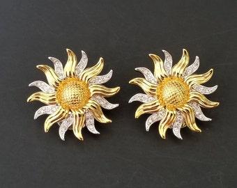Kenneth Jay Lane Vintage Sunburst Clip On Earrings - Clip On Earrings By K.J.L