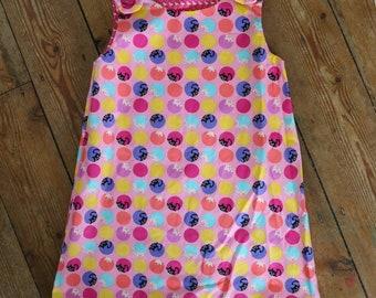 Hand-made-Girls reversible Rosie pinafore dress - Peek-a-boo kitten and flamingo- 2-3yrs