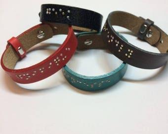 Bracelet personalized Braille (leather and Swarovski)