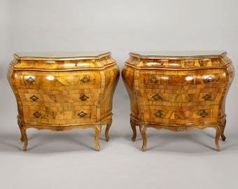 Pair Bombe Oyster Wood Chests with Glass Tops [8212]