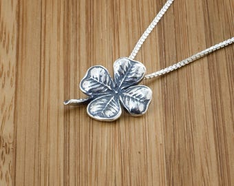 STERLING SILVER Four Leaf Clover, Shamrock Pendant -  Chain Optional
