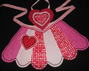 Women's Valentine Apron, Pink, Red, White, Black, Scalloped Hem, Heart Pocket and Bodice, Reversible, The Julie