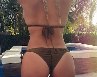 Large Olive Green Scrunch Bikini Bottom