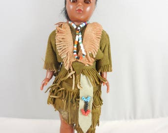 Vintage Native American Indian Squaw with Baby on Back Doll