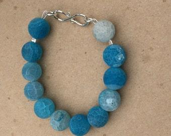Blue Agate Bracelet 00016 kbrownjewellery, Marbled Agate Bracelet, Matt Beaded Bracelet, Small Gemstone Bracelet