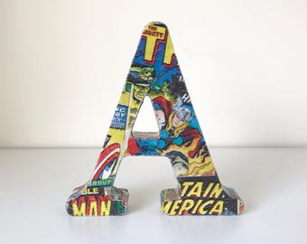 Comic book - Marvel inspired freestanding Letters. Comic book room decor. Event Centerpiece.