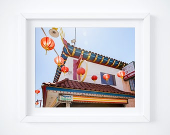 Chinatown photo print - California travel fine art - Los Angeles photography - Vintage sign wall decor - 8x10 11x14 16x20 - Chinese lanterns