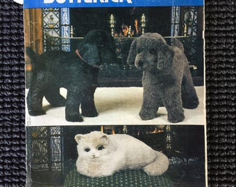 Vintage Vogue Butterick 8342 Dog Cat Stuffed Animal Sewing Pattern UNCUT