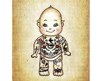 Tattoo Baby Art Print.  Kewpie Doll Wall Art.  8x10  Illustration Print. Baby Shower Gift. Badass Baby Nursery Decor  - Kewpie Doll Baby Art