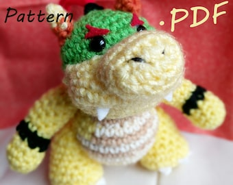 PDF CROCHET PATTERN Yoshi's Woolly World Baby Bowser/ Bowser Jr.