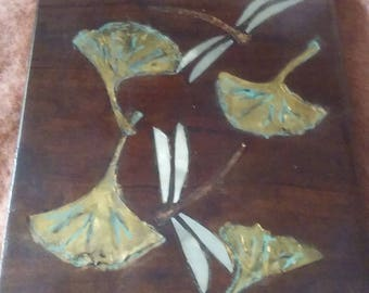 Dragonfly and Gingko Leaf Tile Wall Decor