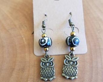 Owl Eye Gold Dangly Earrings