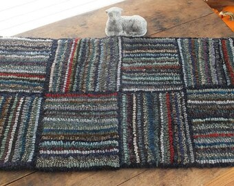 Primitive Hooked Rug - Indigo Stripes