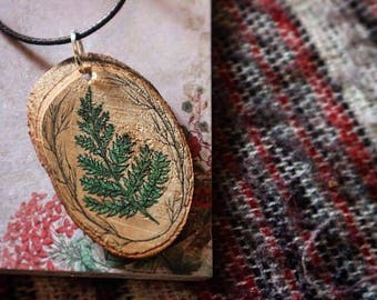 Handpainted Wooden Fern Necklace