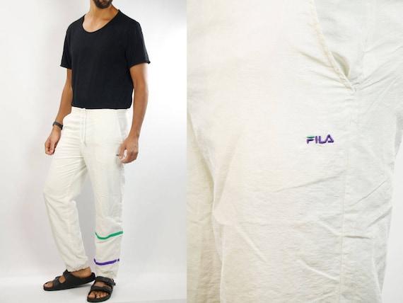 Track Pants Fila / Fila Joggers / White Fila Pants / Sport Pants Fila / 90s Fila Track Pants / Tracksuit Pants Fila / Vintage Fila Pants 90s