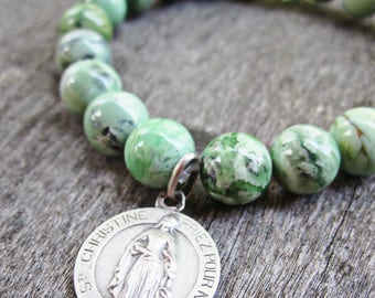 Saint Christine, Chrysoprase and Prehnite Stretch Bracelet, Antique Catholic Medal, Religious Medal, Mint Green Bracelet, Christina