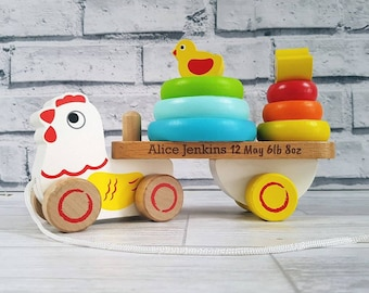 Personalised Pull Along Chicken, Stacking Toy, Wooden Toy, Pre school (00314)