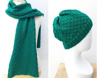 Emerald merino wool knit men's set, merino scarf, green scarf, men's scarf, men's hat, merino hat, green set men, men merino scarf and hat