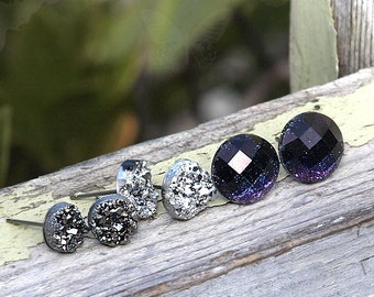 Faux Druzy Stud Titanium Earrings - 3 Pair Set Drusy Glitter Posts. Galaxy Collection. Dark Silver, Bright Silver, Black-Purple Ombre