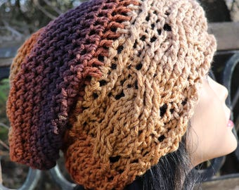 Crochet Cable Slouchy Hat shades of brown easy care acrylic